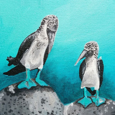 "Love Bird Series 4/6 ""Two Blue Footed Boobys"" - Painting by Samantha Vincent www.iheartart.ca"