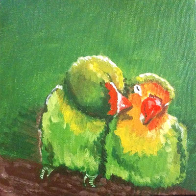 "Love Bird Series 2/6 ""Cheek Kisses;"" - Painting by Samantha Vincent www.iheartart.ca"