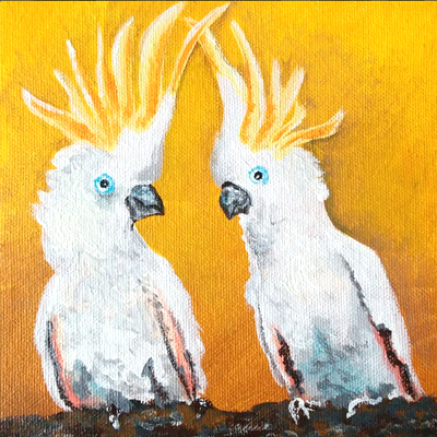 "Love Bird Series 1/6 ""Cockatoos"" - Painting by Samantha Vincent www.iheartart.ca"