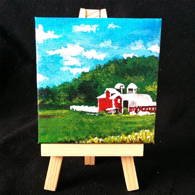 "Mini Canvas with Easel 3"" x 3"" - ""Mini Farm"" - Painting by Samantha Vincent www.iheartart.ca"