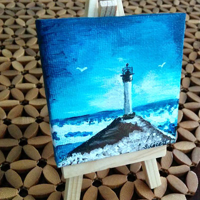 "Mini Canvas with Easel 3"" x 3"" - ""Mini Lighthouse"" - Painting by Samantha Vincent www.iheartart.ca"