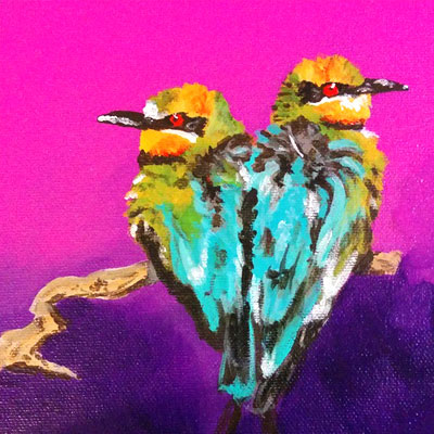 "Love Bird Series 6/6 ""Quarrelling Birds"" - Painting by Samantha Vincent www.iheartart.ca"