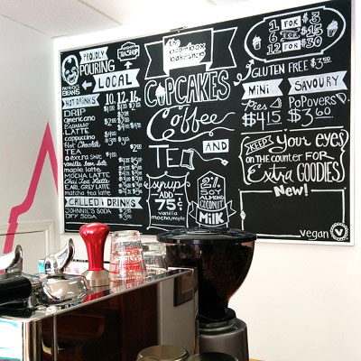 Commissioned Chalk Menu Board - 2015 within The Boombox Bakeshop - Hand Lettered Chalk Drawing by Samantha Vincent www.iheartart.ca