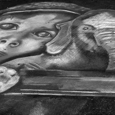 "Expressions in Chalk 2013 - ""Boy and Elephant 2013"" - Chalk drawing by Samantha Vincent www.iheartart.ca"