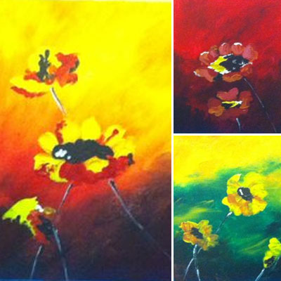 Tryptic Flower Paintings - Painting by Samantha Vincent www.iheartart.ca