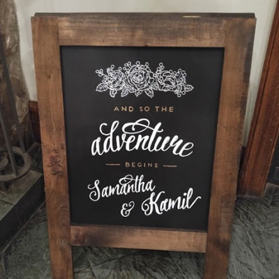 Commissioned Wedding Chalkboards - Hand Lettered Chalk Drawing by Samantha Vincent www.iheartart.ca